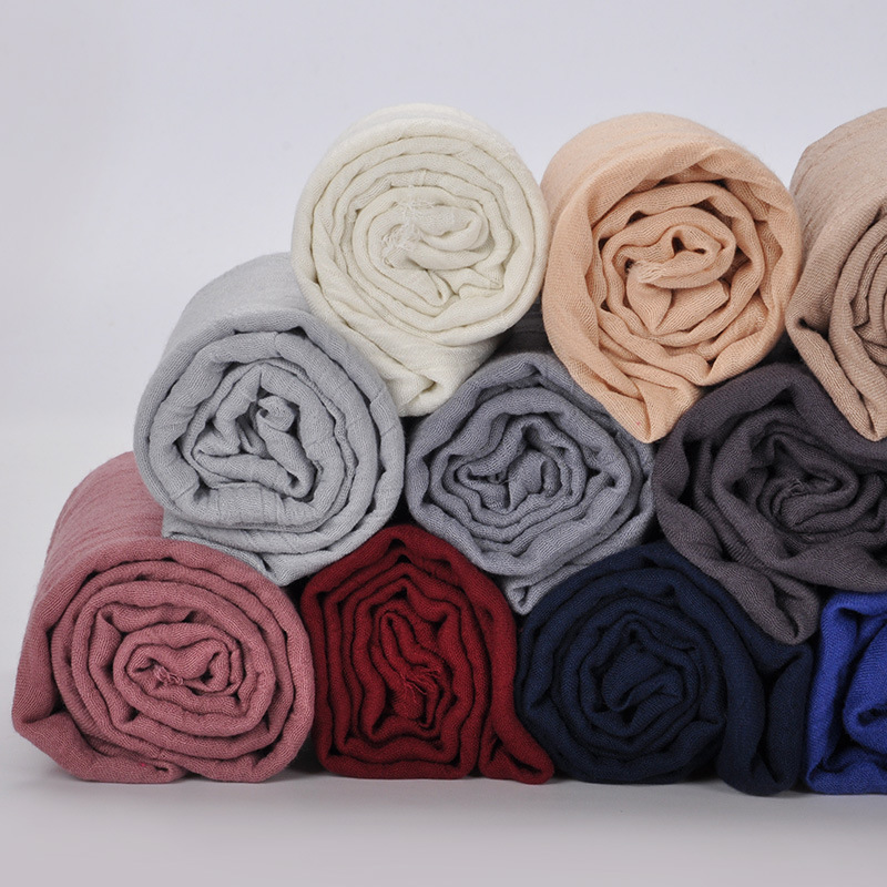 Muslim Women Cotton Wrap Head Scarf Hijab Islamic Soild Color Headscarf Clothing Arab Turban Headwrap Hijab Femme Musulman