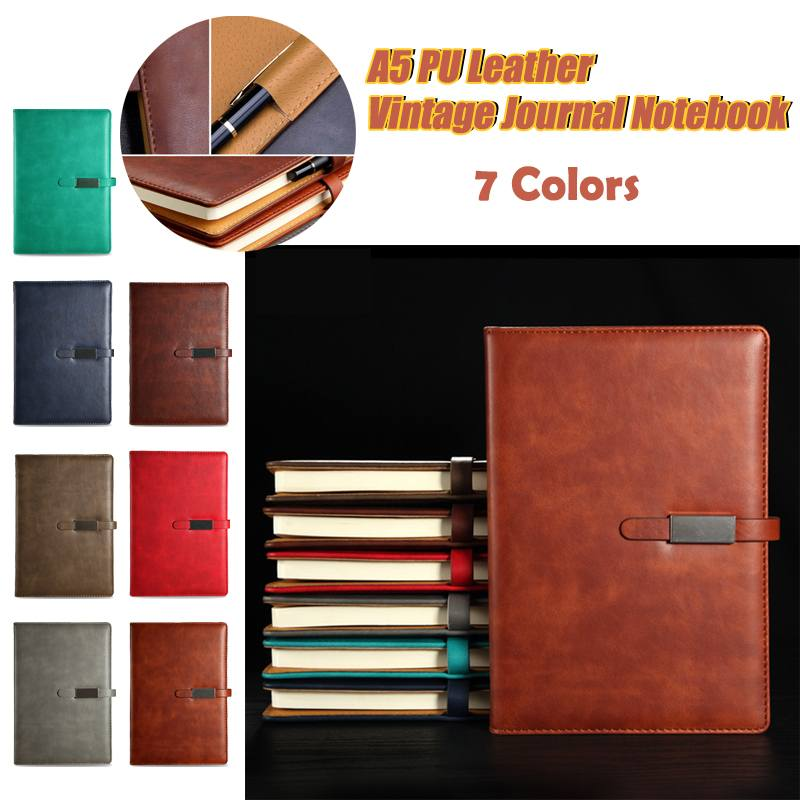 A5 PU Leather Vintage Journal Notebook Lined Paper Diary Planner With Buckle Traveler Journal Weekly Planner School Stationery