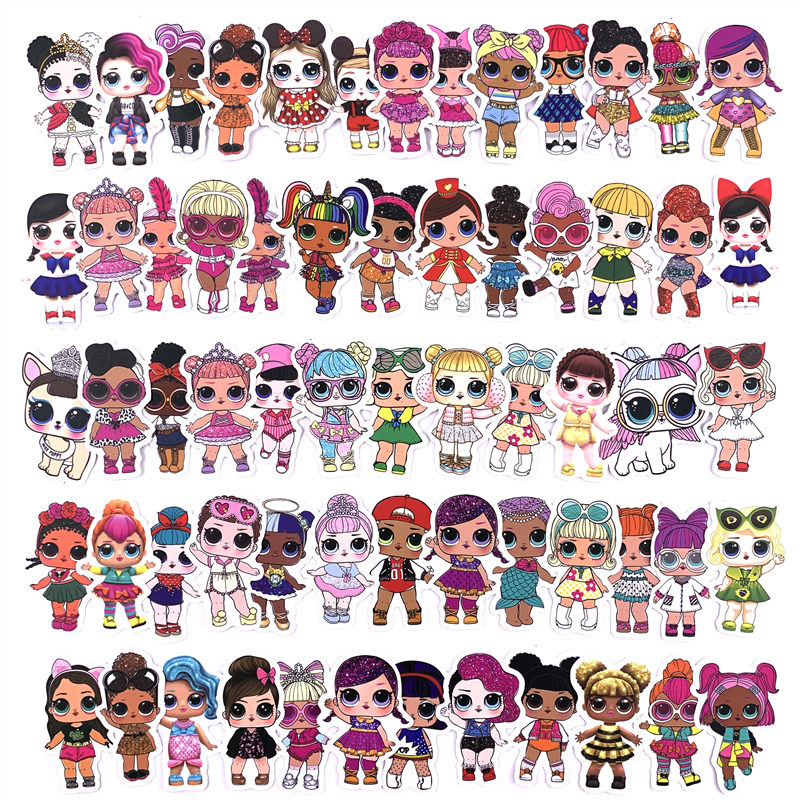 50-100PCS Doll Stickers Personality Sticker Children's Toys PVC Graffiti Surprise Sticker Suitcase Car Boot Guitar Waterproof