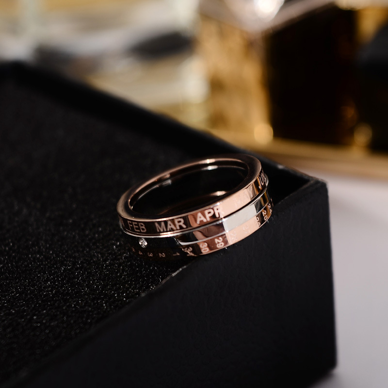 Titanium Steel New Plated 18 K Rose Gold Rotating Time Ring Female Index Ring Accessories