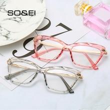 SO&EI Retro Cat Eye Transparent Multi-cut Crystal Women Glasses Frame Can Be Equipped with Myopia Men Prescription