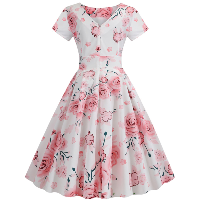Summer Floral Print Elegant A-line Party Dress Women Slim White Short Sleeve Swing Pin up Vintage Dresses Plus Size Robe Femme 214