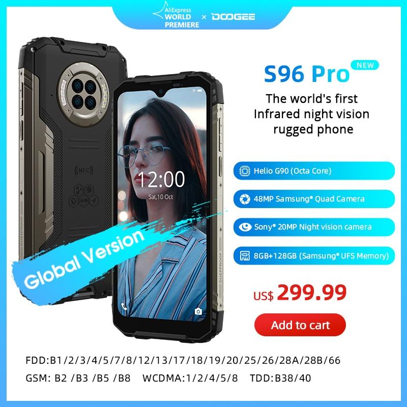 DOOGEE S96 Pro Водонепроницаемый прочный телефон 48 МП, круглая четырехъёмная камера 20 МП, инфракрасное ночное видение Helio G90, Восьмиядерный, 8 ГБ + 128...