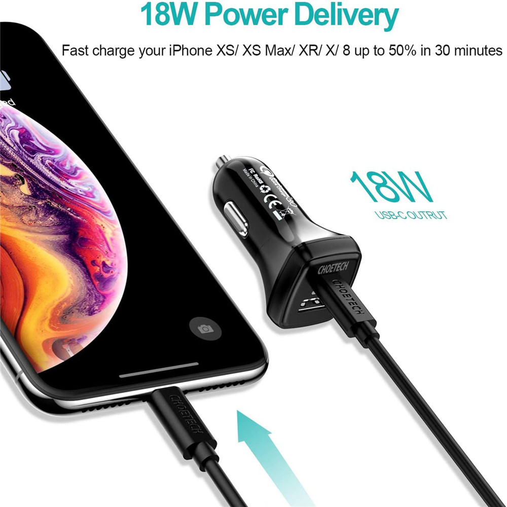 Galaxy S20//S10 iPad Pro CHOETECH 36W Dual Fast PD 3.0 Port Mini Type C Car Charger Adapter with Type C Cord Compatible with iPhone SE//11//11 Pro//XR//Xs//Max Pixel 3//XL USB C PD Car Charger