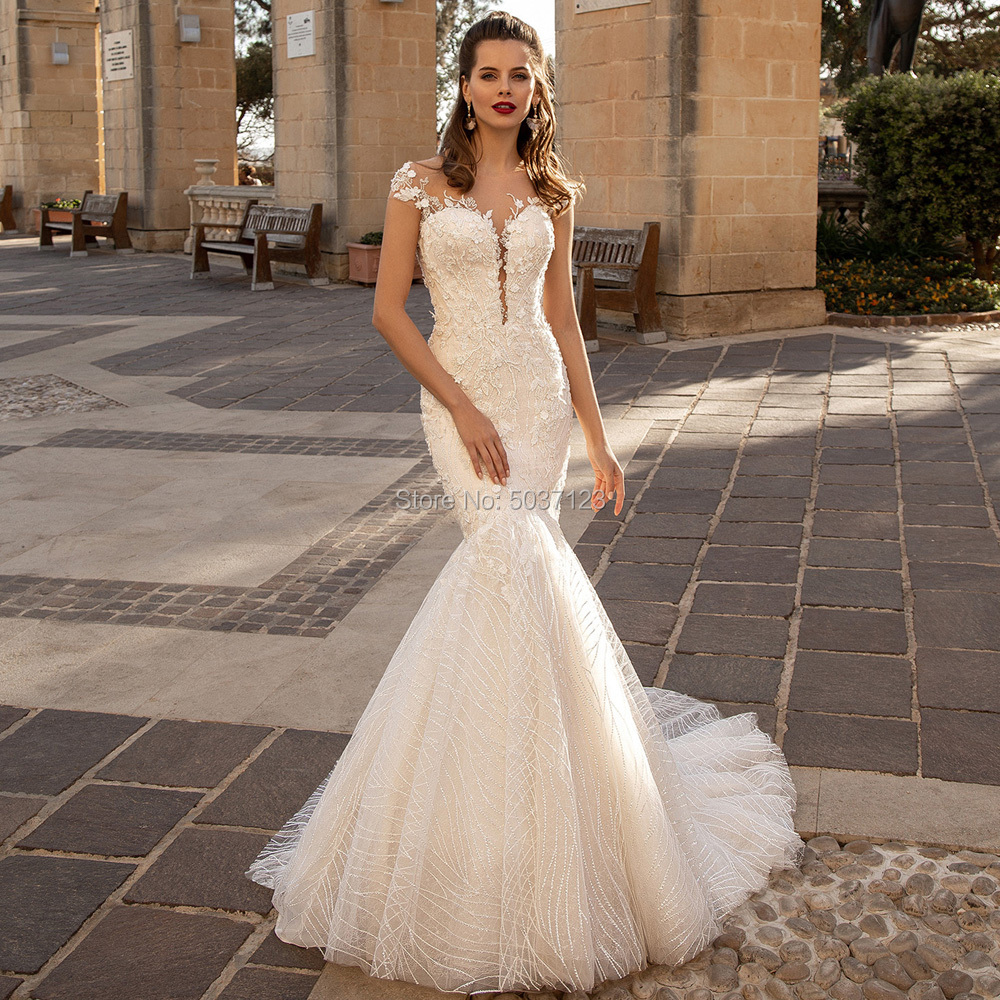 Mermaid Wedding Dresses Sweetheart Lace Appliques Bridal Gown Button Illusion Sleeveless Vestido De Noiva Plus Size Court Train-in Wedding Dresses from Weddings & Events
