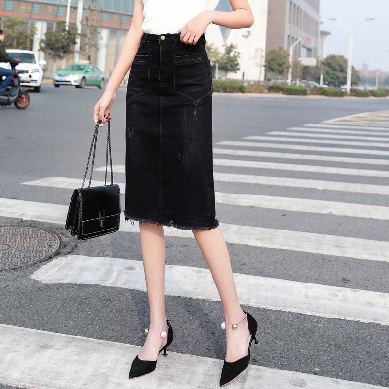 Korean-style High-waisted Slimming Large Size Denim Skirt Elasticity Black And White With Pattern Burrs Slit Medium-length A- Li