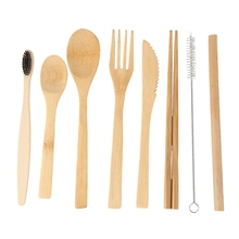2-Pack Bamboo Utensils with Bonus 2 Bamboo Toothbrushes Bamboo Straw,Spoon,Fork,Knife,Teaspoon, Chopsticks, Brush and 2 Green St