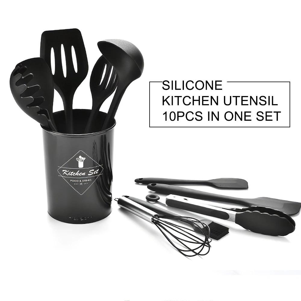 10pcs Kitchen Utensils Set Cooking Utensils Set Silicone Kitchen Tools Gadgets Wooden Spatula Set With Holder Box Hooks Utensil Sets Aliexpress