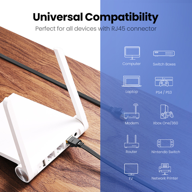 Ugreen Ethernet Cable RJ45 Cat7 Lan Cable UTP RJ 45 Network Cable for Cat6 Compatible Patch Cord for Modem Router Cable Ethernet 4