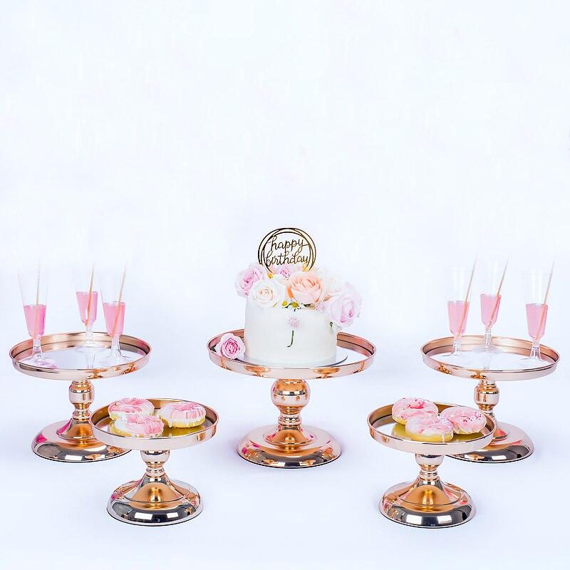 3-7 pièces argent or gâteau support ensemble galvanoplastie miroir visage table de fête de mariage bonbons barre table décoration outils