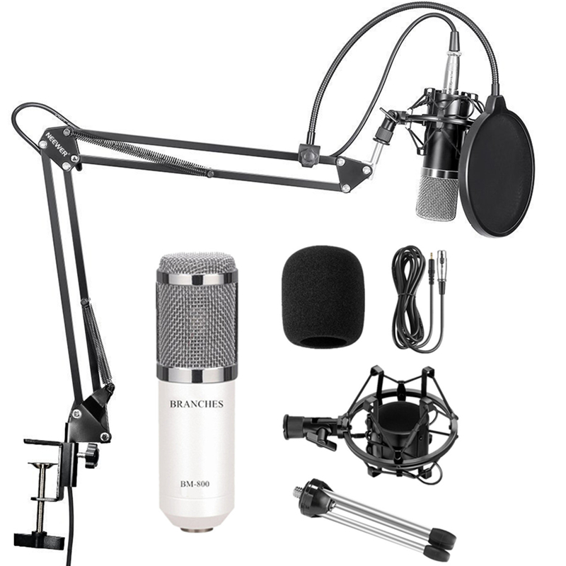 BM 800 Professional Condenser Microphone BM800 Kit:Microphone For Computer+Shock Mount+Foam Cap+Cable As BM 800 Microphone