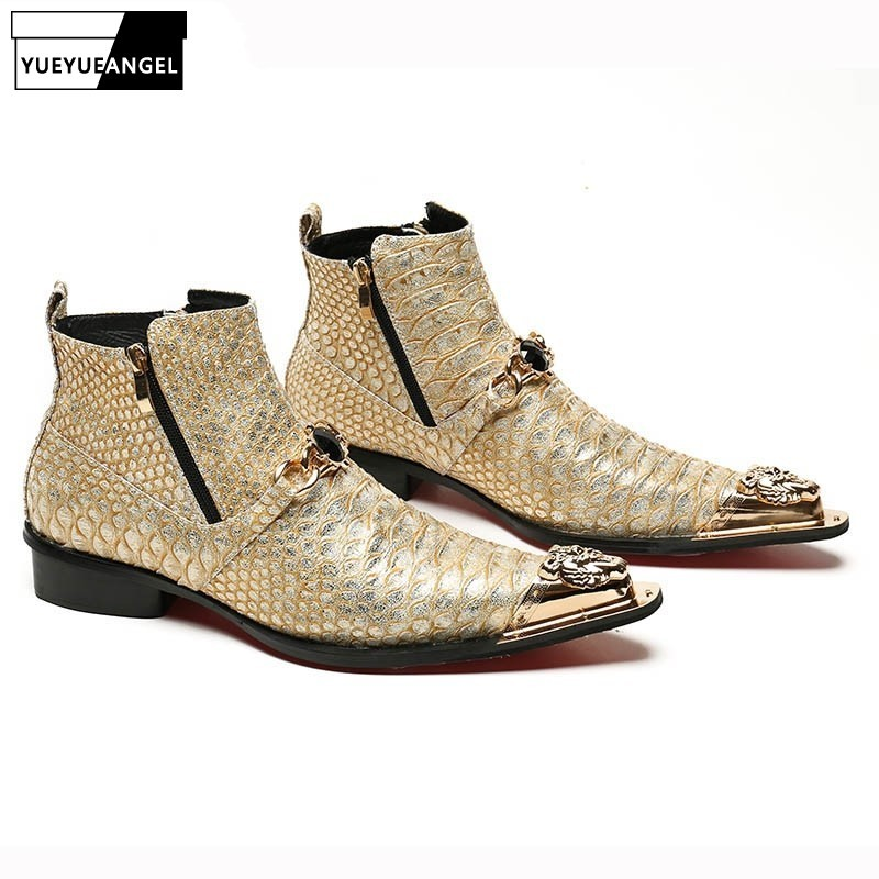 Winter Warm Shoes High Top Mens 2020 New Designer Style Metal Trend Cool Zipper Ankle Boots Male Footwear Breathable Shoes Gold