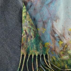 Image 3 - Pashmina de cachemir largo cálido de doble cara para mujer, pañuelos de pintura al óleo, chal, para invierno