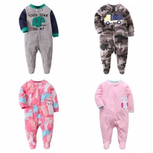 Girl Rompers Baby Pajamas Christmas Fleece Newborn Winter Boys Jumpsuit Zipper Warm