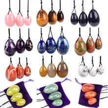 Toptan delinmiş Yoni yumurta doğal taş Kegel topları kadınlar için Kegel egzersiz vajinal kas Ben Wa topu