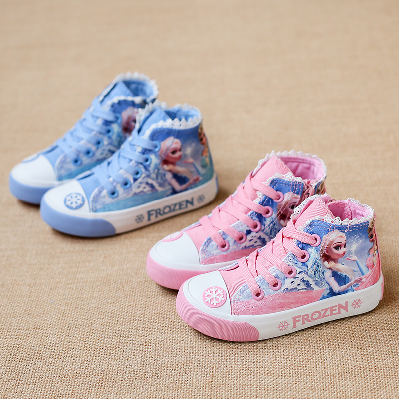 Girls Canvas 2020 New Style Cartoon Snow Queen Girls Hight-top Canvas Shoes Anti-slip  Korean-style Casual Sneaker Lace-up