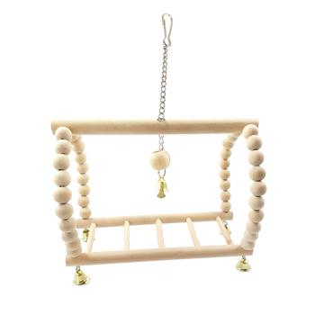 Bird Parrot Wood Hanging Bridge with Beads Bells Suspension  Swing Ladder Climbing Frame Toy Cage Balance Training