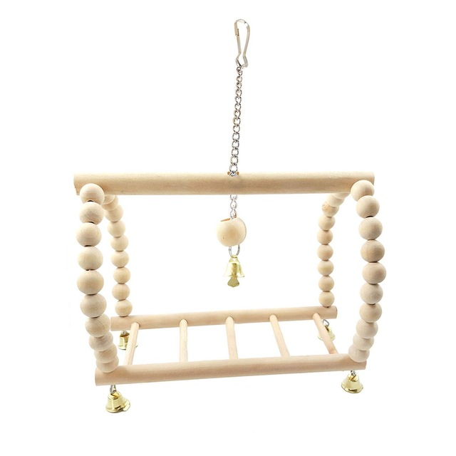 Bird Parrot Wood Hanging Bridge with Beads Bells Suspension  Swing Ladder Climbing Frame Toy Cage Balance Training