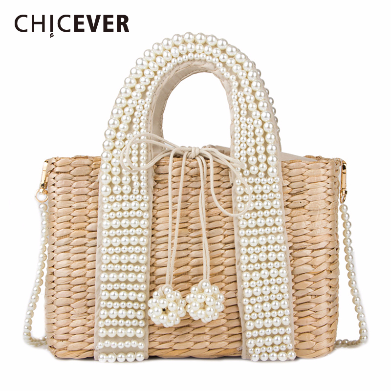 CHICEVER Drawstring Hit Color Bag For Women Patchwork Pearl Bags Female Casual Handbag Clothing Accessories Fashion New 2020