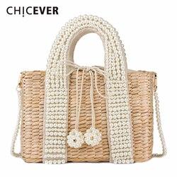 CHICEVER Kordelzug Hit Farbe Tasche Für Frauen Patchwork Perle Taschen Weibliche Casual Handtasche Kleidung Zubehör Mode Neue 2020
