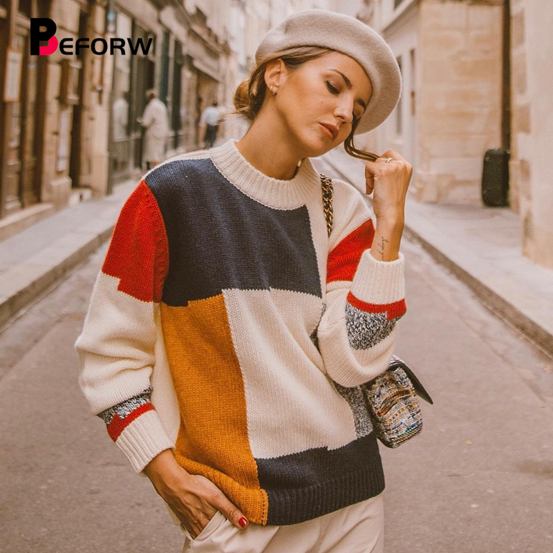BEFORW Fashion Clothes 2019 Winter Knitted Sweater For Women Turtleneck Fall Patchwork Sweaters Tops Womens OL Jumper Pullover