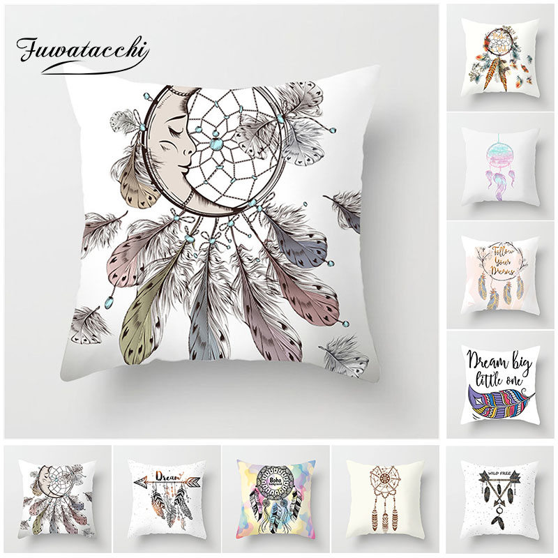 Fuwatacchi Dreamcatcher Cushion Cover Colored Feather Print Pillowcase Dream Arrow For Home Decor Sofa 45cm*45cm Pillow Case