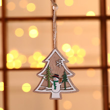 3D Christmas Ornament Wooden Hanging Pendants Star Xmas Tree Bell Christmas Decorations for Home Party TUE88(China)