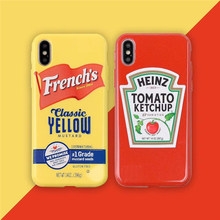 Heißer Heinz tomaten ketchup senf silikon cases für iphone 6 6S 11 Pro 7 plus 8 8plus X XS XR MAX Glitter hone coque(China)