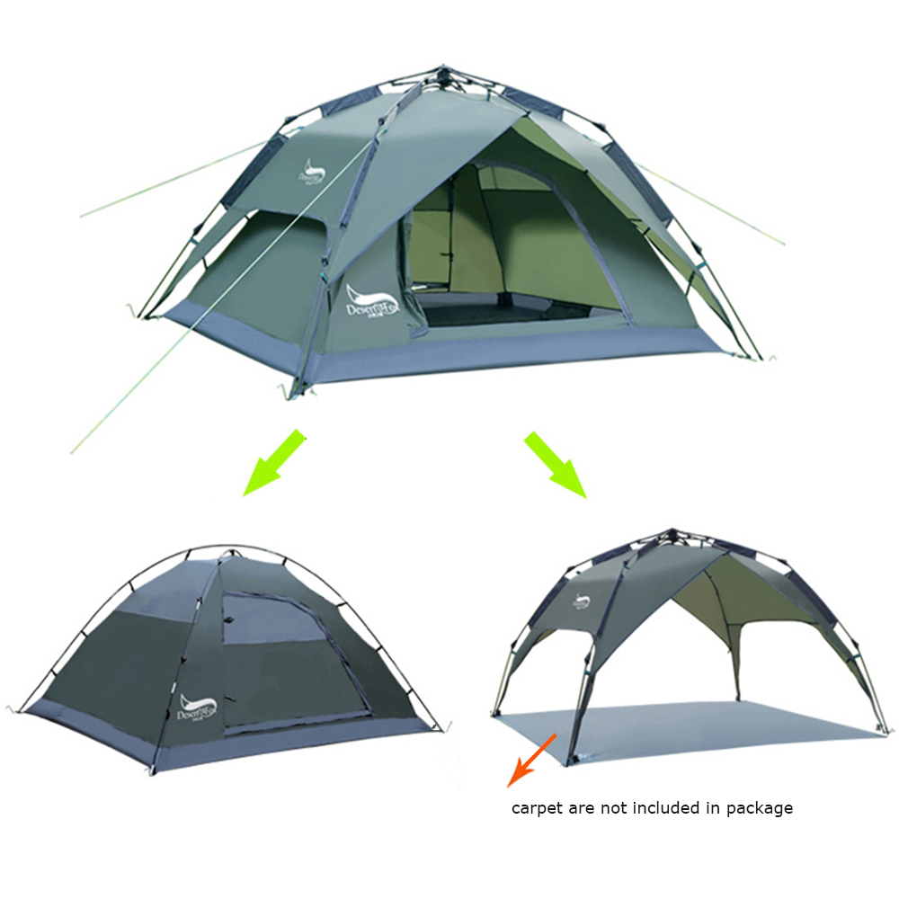 Desert&Fox Automatic Tent 3-4 Person Camping Tent,Easy Instant Setup Protable Backpacking for Sun Shelter,Travelling,Hiking-4