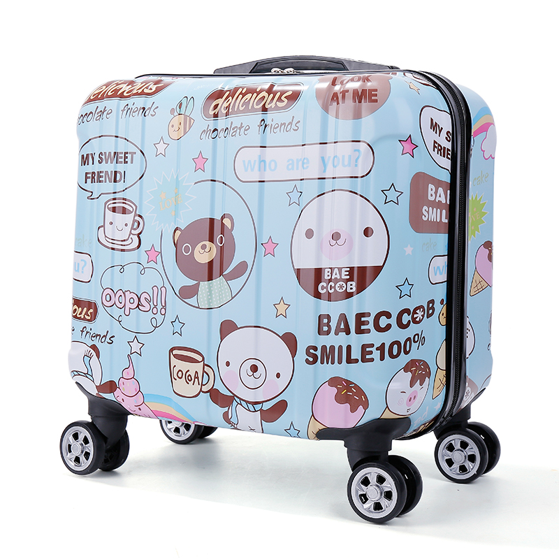 Kids Mini Boarding 18 Inch Small Suitcase Universal Wheel 17 Trolley Case Cute Travel Printing Password Box