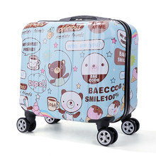 Kids mini boarding 18 inch small suitcase universal wheel 17 trolley case cute travel printing password box(China)