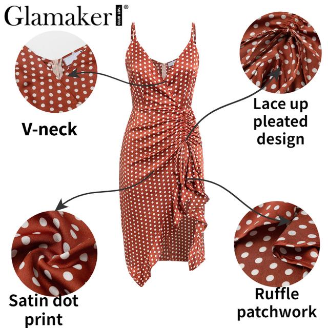 Glamaker Polka dot ruffle split midi dress Women v neck pleated bodycon dress Female autumn winter elegant party club sexy dress