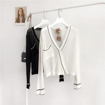 Transparent black white coat women Holiday V-neck thin knitted cardigan Stylish loose casual long sleeve jacket