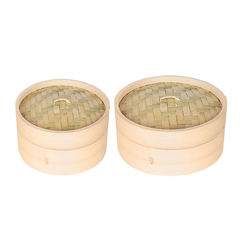 2 Set One Cage And One Cover Cooking Bamboo Steamer Fish Rice Vegetable Snack Basket Set Kitchen Cooking Tools,M & S