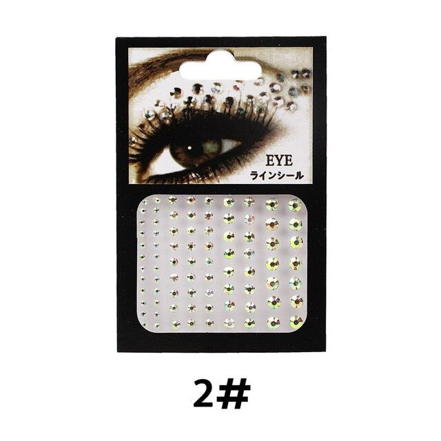 6 Colors Tattoo Sticker Glitter Diamond Makeup Eyeliner Eyeshadow Face Rhinestone Sticker Jewelry Eyes Makeup Crystal Stickers 3