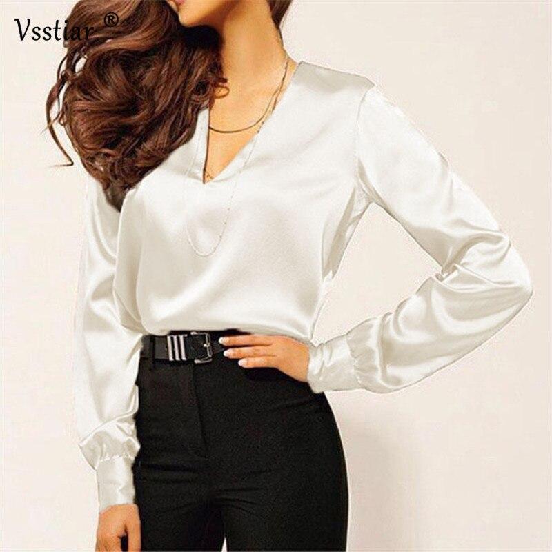 Vsstiar Silk Blouse Woman Shirts 2019 Plus Size Elegant Long Sleeve Office Satin Blouse Women Tops