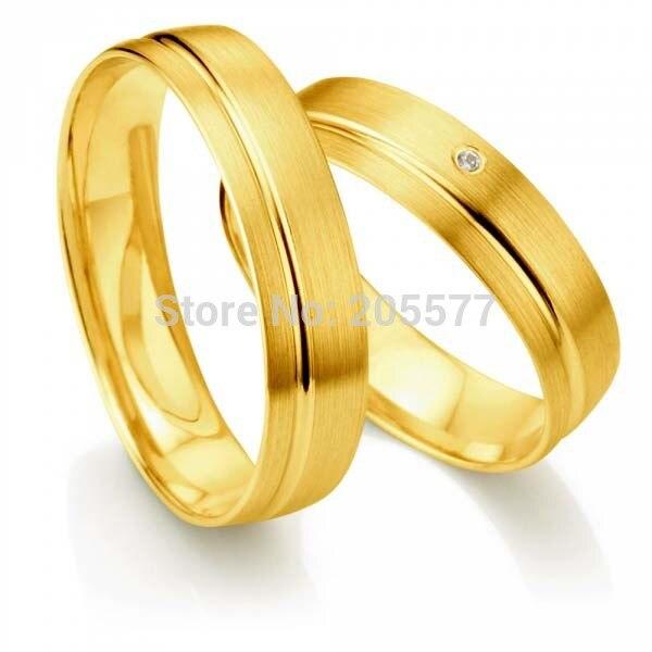 Ses Couples et les siens anneaux or jaune placage pur acier inoxydable titane bague de mariage ensembles de paires