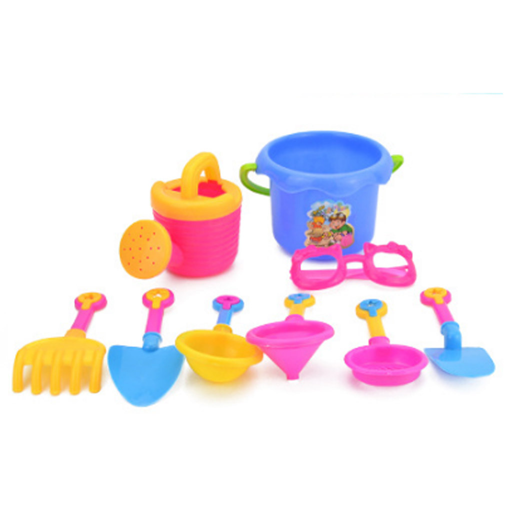 9PCS/Set Kids Beach Pretend Role Play Toy Kit Kids Beach Sand Game Toys Kit Shovels Rakes Holiday Birthday Good Gift