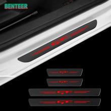 4 pçs fibra de carbono gt linha porta do carro soleiras protetor adesivo para kia forte ceed stinger shuma rio sportage alma cerato acessórios