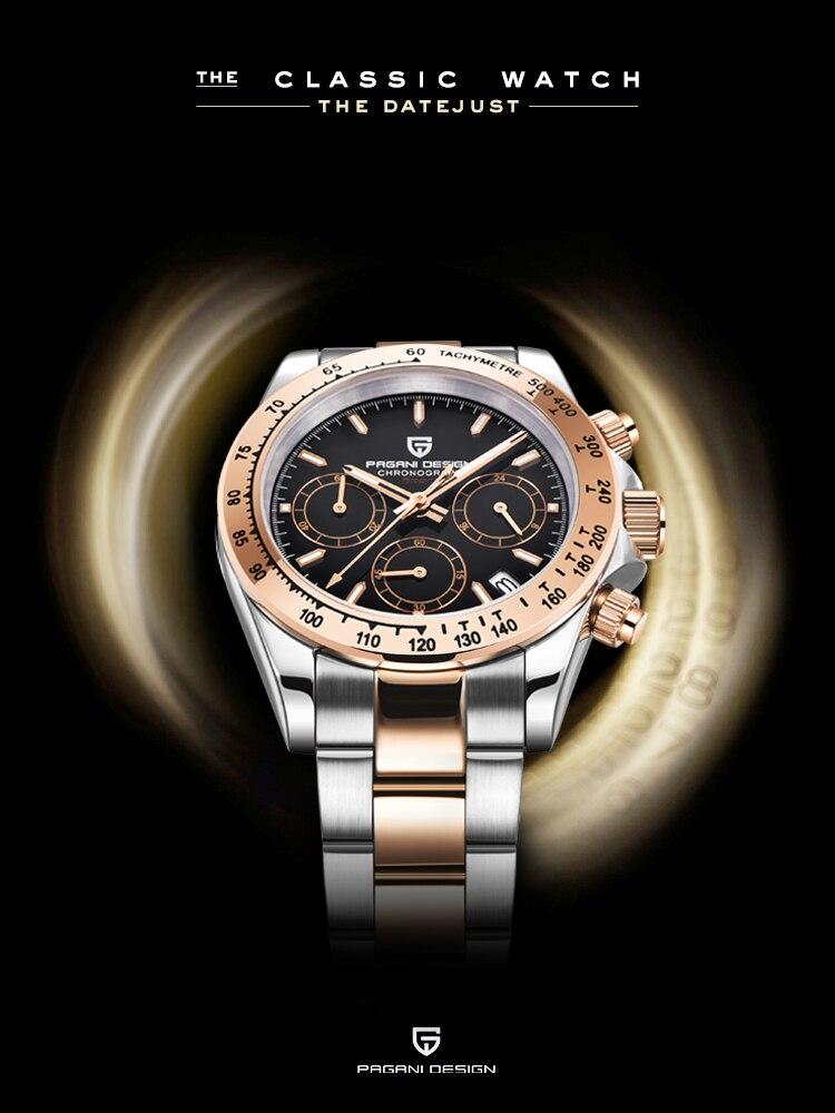 Luxury Mens Watches Chronograph Pagani-Design Automatic Quartz Top-Brand Reloj Business