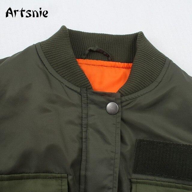 Artnie-blouson chaud Bomber pour Femme, poches vert armée et fermeture éclair, automne-hiver 2020 5