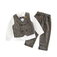 High Quality Boys Clothing Set 2019 Autumn White Long Sleeve ShirtWith Bow+Plaid Double breasted Vest Coat+Pant 3pc Boys Outfits