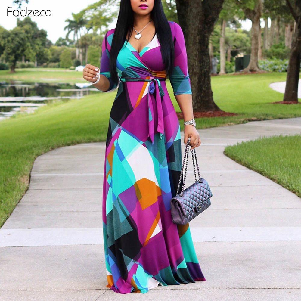 Fadzeco African Dresses For Women Long Dress Long Sleeve Nigerian Traditional Clothing Floral Print Wedding And Party Outfits.