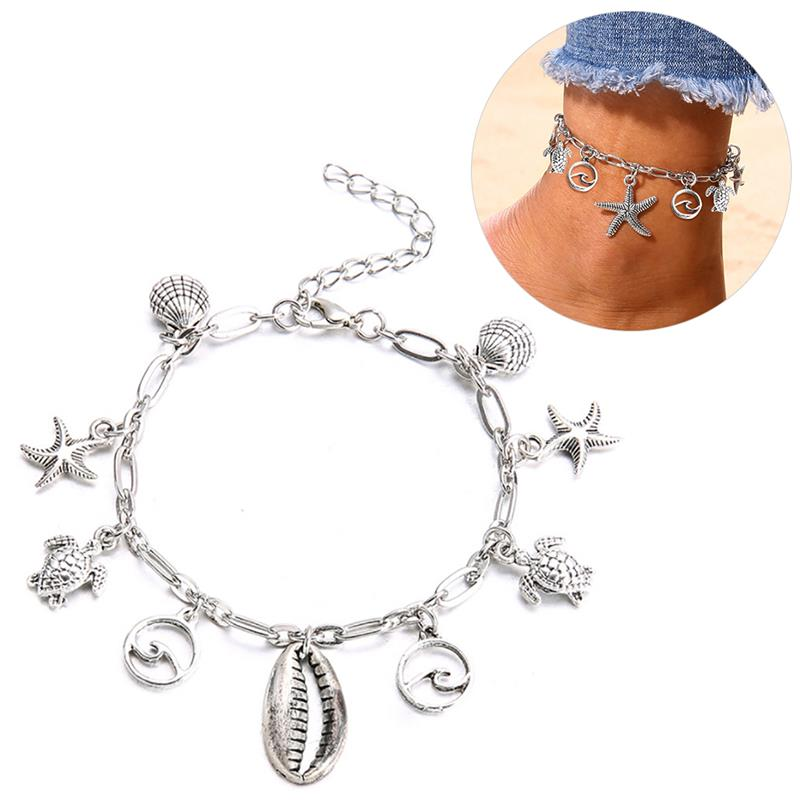 Women's Anklet 1pc Fashion Beach Bohemian Style Starfish Shell Decor Foot Jewelry Beach Anklet Jewelry Accessories For Beach