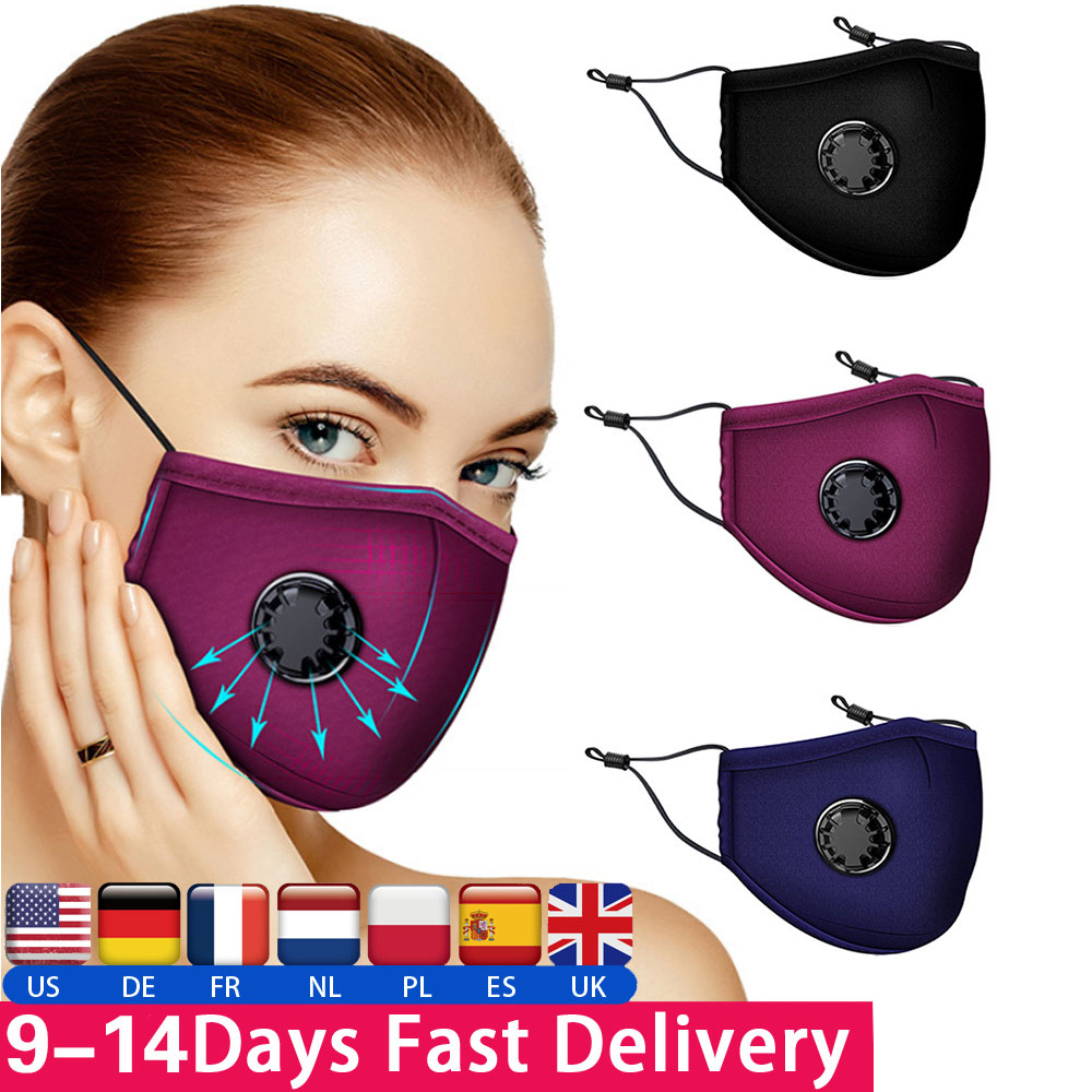 1Pcs Washable PM2.5 Mouth Mask Against Dust Mask Activated Carbon Filter Valve Windproof Mouth-muffle Bacteria Face Masks Cover