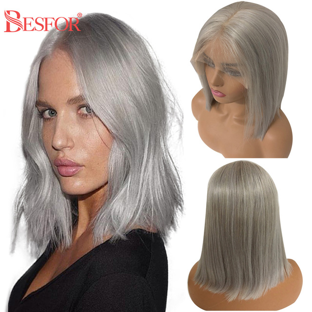 $ US $51.38 BESFOR 13×6 Brazilian Virgin Human Hair Grey Short Bob Wigs Bleached Knots Straight 150% Density Lace Front Wig For Black Women