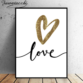 Fuwatacchi Modern Abstract Picture Prints and Posters  Wall Art Love Heart Paintings Canvas Paintings for Home Living Room Decor