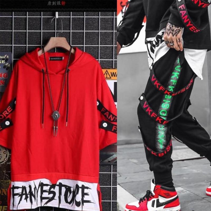 NiceMix Two-piece Suit Long Sleeve Sweatshirt Overalls Men Hip-hop Loose Jacket Tops Clothes Tops&pants Sweatpants Set For Boys