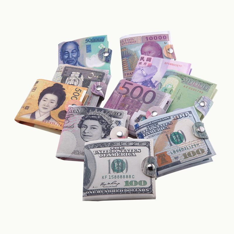 2019 New Paper Money Clip Men Women Canvas Dollar Euro Wallet Short Slim Mini Purse 2 Fold Student Cartoon Cheap Gift Coin Bag