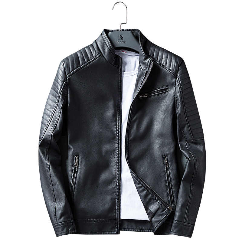 Brand Clothing New arrival Men's PU Jacket Leather Coat Autumn Slim Fit Faux Leather Motorcycle Jackets Casual Male Coats K202